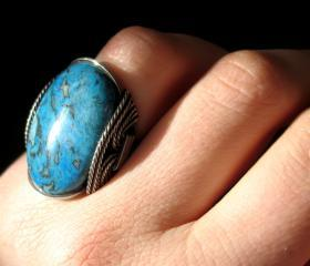 Stone Ring, Teal Blue Crazy Lace Agate, Sea Blue, Chunky Large Ring
