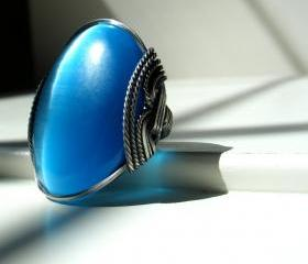 Cats Eye Ring, BIG Turquoise Blue, Oxidized Silver, Giant Flashy Ring