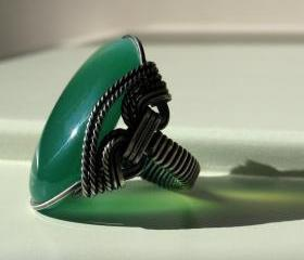 Green Agate Ring, Mint & Apple Green Stone, Oxidized Sterling Silver, Any Size