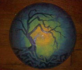 Mystic Tree Original Artwork Painted on a Recycled Vinyl Record
