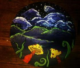 Original Painting of Mushrooms and Night Sky
