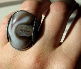 Creamy Natural Ring, Botswana Agate, Oxidized Silver, Men, Women, Any Size