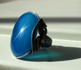 Sky Blue Ring, Agate Gemstone, Crisp Cool Water, Oxidized Silver 