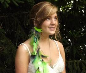 Green and Blue Feathered Headband