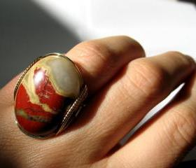 Red Jasper Ring, Big Natural Geode Stone, Yellow & Red, 14K Gold Fill, Any Size