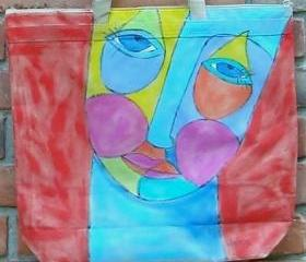Hand Painted Large Tote Bag with Funky Abstract Face Painting