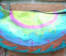 Hand Painted Handbag Hand Painted Purse with Funky Abstract Sunburst Painting