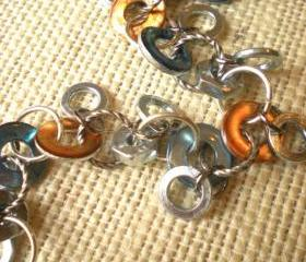 Hardware Bracelet: Orange and Blue