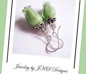 Green Tulip Earrings, Floral Lampwork Earrings, Labradorite Gemstone Earrings, Jewelry by JKS Designs