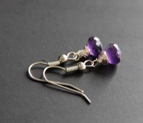 Purple Amethyst Earrings Wire Wrapped