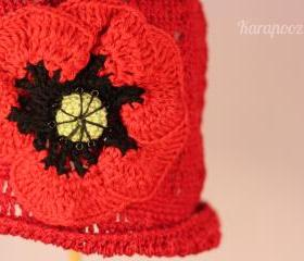 Crochet Poppy Flower Baby Hat /6-12 months