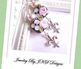 Pink Shabby Chic Rose Earrings, Lampwork Sterling Silver Fleur De Lis Floral Earrings, JKS Designs, Australia