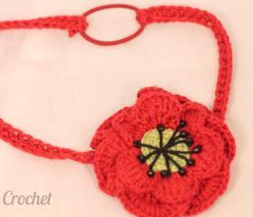 Crochet Poppy flower headband, 6-12 months