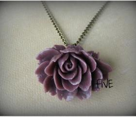 Plum Ruffle Rose Cabochon Pendant on Antique Brass Chain Necklace - Jewelry by FIVE