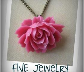oneysuckle Pink Ruffle Rose Cabochon Pendant on Antique Brass Chain Necklace - Jewelry by FIVE