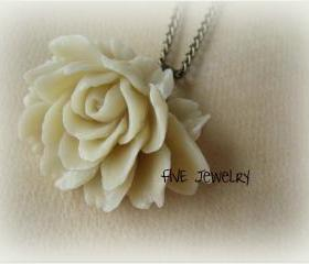 Ivory Ruffle Rose Cabochon Pendant on Antique Brass Chain Necklace - Jewelry by FIVE