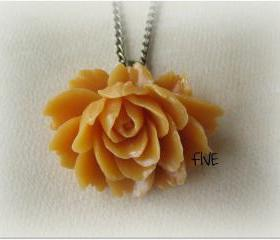 Butterscotch Ruffle Rose Cabochon Pendant on Antique Brass Chain Necklace - Jewelry by FIVE
