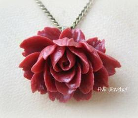 Red Ruffle Rose Cabochon Pendant on Antique Brass Chain Necklace - Jewelry by FIVE