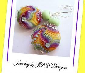 Rainbow Glass Earrings, Striped Multicolor Yellow Green Purple Pink Lampwork Dangle, Jewelry by JKS Designs