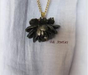 Black Ruffle Rose Cabochon Pendant on Antique Brass Chain Necklace - Jewelry by FIVE