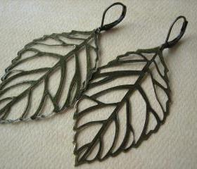 Leaf Earrings - Antique Bronze - Jewelry by FIVE