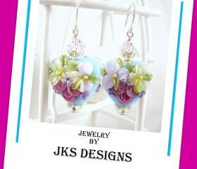 Floral Lampwork Heart Earrings, Shabby Chic Rose Pink Aqua Glass Sterling Silver Pierced Dangle, Jewelry by JKS Designs Australia
