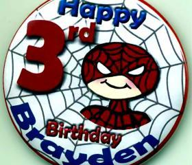 Birthday Party Buttons Siderman Inspired Personalized Buttons Custom Buttons