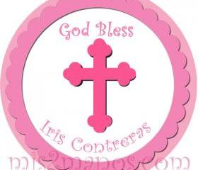 Baptism Stickers Personalized Labels 2 inch Round Favor Tag for Baptism or Christening Stickers Set of 20