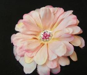 Pink flower clip with Glass Beads and Hot Pink Sequins Center