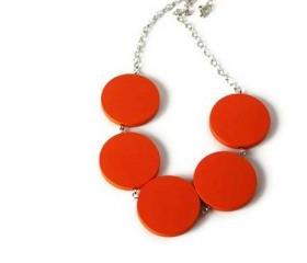 Tango Orange Chunky Necklace. Tangerine Geometric Beaded Necklace