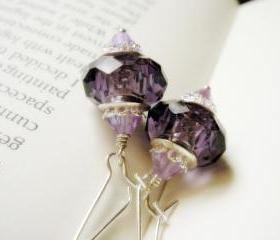 Sparkles of Amethyst Swarovski Crystal and Sterling Silver Ear Wires