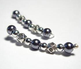 Ear Pins Blue, Gunmetal, Silvery Glass Pearl and Silver 1-1/4 Inch Long Earpins - Pair Earrings