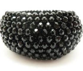 Black Bangle Bracelet - Black Jewelry - Black Bracelet - Beaded Bangle Bracelet - Beaded Jewelry