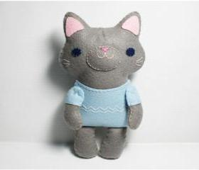 Little Gray Cat - doll pattern, felt doll, PDF