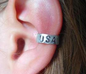 USA Hand Hammered Aluminum Ear Cuff, Summer 2012 Summer Olympics, GO TEAM USA!!!