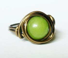 Green Jade Ring In Antique brass