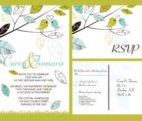 Budget Wedding Invitations & matching RSVP set