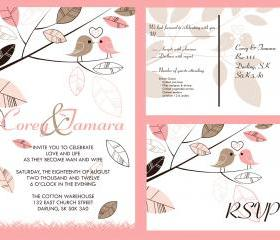 50 Personalized Wedding Invitation and matching RSVP set