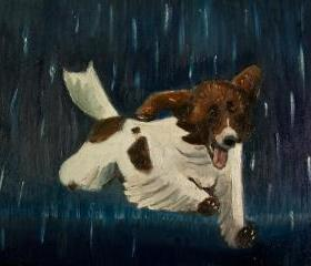 Happy Puppy Dog in Thunderstorm, Summer Rain - Original Painting Illustration