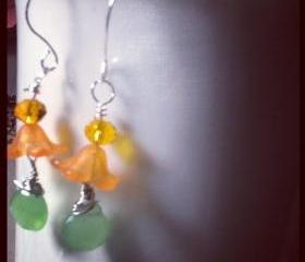 Honeysuckle Orange- Lucite Flower Beads, Briollete Bead Earrings Summer Silver Plated