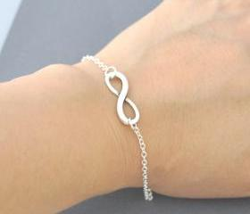 Silver infinity Bracelet, everyday Jewelry, infinity Jewelry, everlasting lover, enternity, gift for BFF