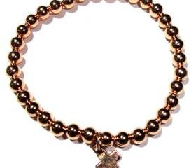 4mm rose gold filled beads with rose vermeil mini Cross
