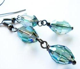 Mystic Blue Crystal Drop Dangles