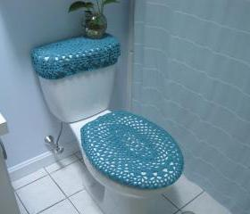 Set of 2 Crochet Covers for Toilet Seat & Toilet Tank Lid, Cozies - Aqua (TSTTL5)