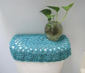Crochet Toilet Seat Cover or Crochet Toilet Tank Lid Cover - Aqua (TSC7 or TTL5)