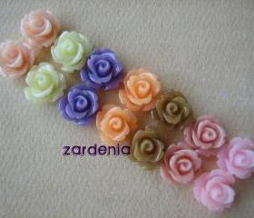 14PCS - Mini Rose Flower Cabochons - 10mm - Resin - 7 Color Pastel Gelato Mix - Cabochons by ZARDENIA
