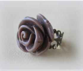 Large Mocha Rose on Antique Brass Filigree Ring - Adjustable - Jewelry by FIVE