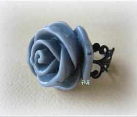 Large Gray Rose on Black Brass Filigree Ring - Adjustable - Jewelry by FIVE