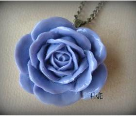Lilac Rose Cabochon Pendant on Antique Brass Chain Necklace - Jewelry by FIVE