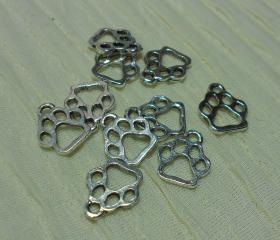 Small Silver Paw Print Charms